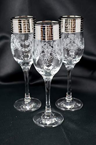 Champagne Flutes set of 6, Wedding Wine Glasses, Silver plated, Greek Key Design, Gift, Home decor, Anniversary present, Wedding decor 7oz / 200ml Glasses Engraved Classic Champagne Glasses
