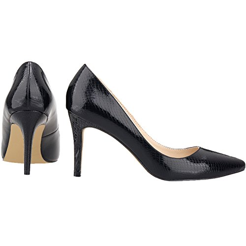 CFP YSE-952-1XEY Womens Classic Stiletto Shallow Mouth Vogue Comfy Crocodile Skin PU Prevalent Wedding Office Pointy Toe Lightweight Court Shoes Trend Business Fashion Black pbiqM