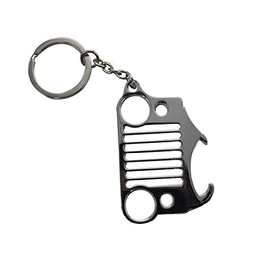 (Key Chain Bottle Opener Keychain Matte Silver Wrangler Grille for Jeep Wrangler Accessories Enthusiasts-Jeep Front Grill Design (Silver))