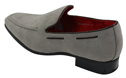 Mens Suede Slip On Loafers Driving Shoes Formal Smart Casual Leather Italian Grey OhIWf