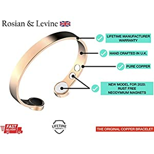 Rosian & Levine ™️ Magnetic Pure Copper Arthritis Therapy Bracelet with Extra Strong Magnets for Carpal Tunnel Migraine Menopause – Unisex Copper Bracelet Immune Support