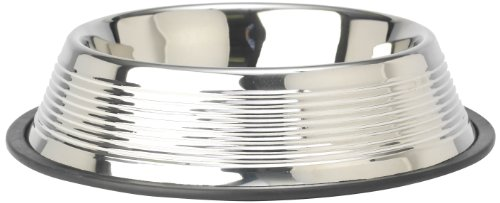 PetRageous Dorado Designer Embossed Rings Stainless Steel Pet Bowl, 2.5-Quart - Embossed Dog Bowl