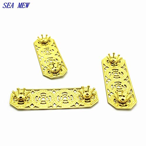 Laliva Accessories - 10PCS 1547mm Metal Copper Sheet Flowers Base Setting Raw Brass Filigree Flowers Tray Connectors for Jewelry Making - (Size: Raw ()