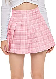 SweatyRocks Women's Casual High Waist Plaid A Line Pleated Mini S