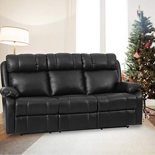 Recliner Sofa Living Room Set Leather Sofa Recliner Couch Manual Reclining Sofa and Sofa (3 Seater) for Home ()
