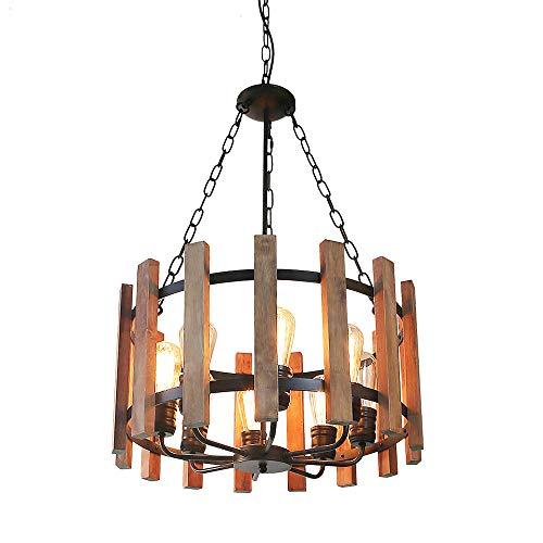 Anmytek Wood Metal Chandelier Orb Pendant Light, Rustic Industrial Edison Hanging Light Dining Room Vintage Ceiling Light Fixture 8 Lights, Brown (C0049)