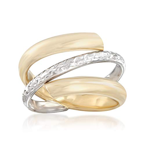 Two Ring Tone Italian - Ross-Simons Italian 14kt Two-Tone Gold Spiral Ring