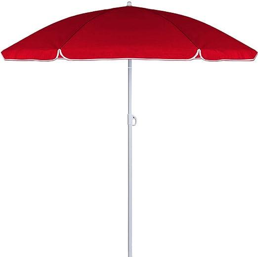 Vetrineinrete Sombrilla de playa parasol a 8 Tacos paraguas para sombra con palo 180 x 200 cm de arena playa 5229: Amazon.es: Jardín