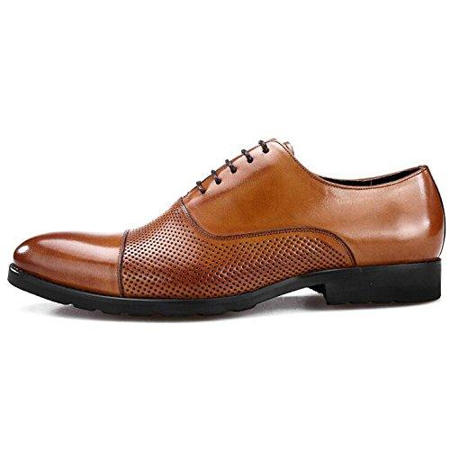 Männer Echtes Leder Schuhe Oxford Brogue Business Kleid Lace-up Kleid Schuhe Casual Hochzeit Brown