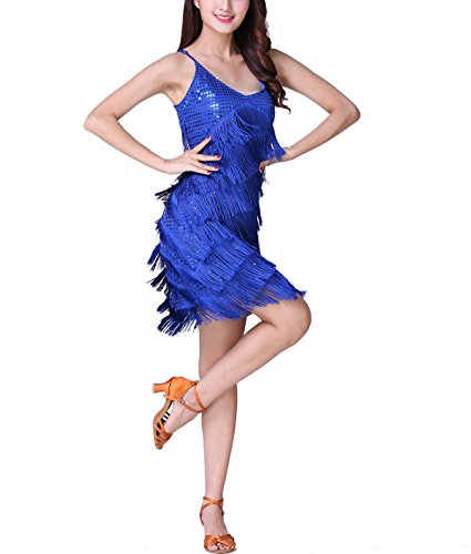 1920s 20s Speakeasy Theater Stage Party Dance Costume Salsa Outfits, Royal Blue, 4-8 ()