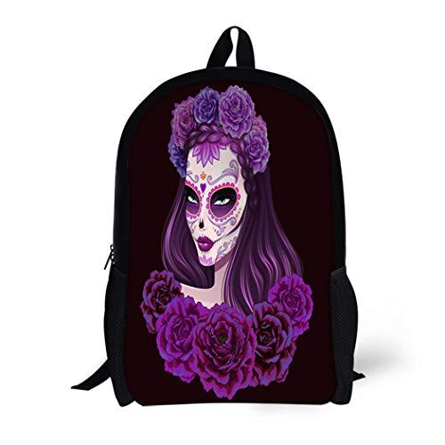 Pinbeam Backpack Travel Daypack Girl Beautiful Sugar Skull Woman Day of Dead Waterproof School Bag -