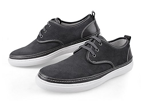 Happyshop(TM) Mens Suede Leather Lace-up Loafers Flats Driving Shoes Comfort Slip-on Board Shoes Size 38-44 Dark Grey 2bstrc