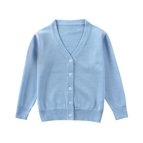 oys Girls Solid Color Knitted Cardigan Sweater,Suitable For 0-3 Years Old,Autumn Winter Warm Button Pullovers Tops (Blue, 6-12 Months) (Hand Knitted Cardigans)