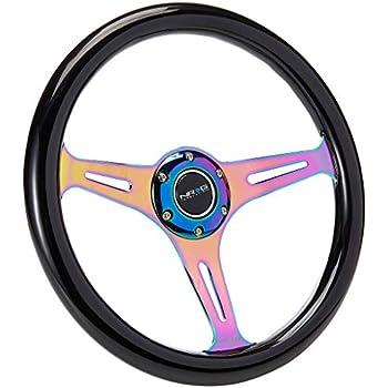350MM 3 Purple Tri-Spoke//Purple Stripe Steering Wheel+Purple 6-Hole Hub Adapter+Neo Chrome Quick Release For 92-95 Integra DC2//Civic EG EH EJ