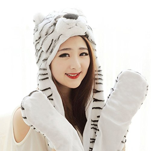 [FakeFace Hood Plush Animal Hat with Gloves Mittens Tiger Hat Scarf Hood Mittens] (Cute Tiger Costumes Women)
