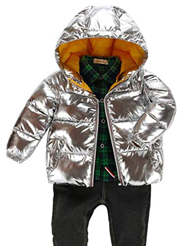 (Joe Wenko Boys Down Jacket Cotton-Padded Hooded Winter Quilted Metallic Parka Coat Silver 3T)