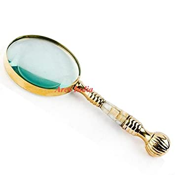 New Antique Vintage Style Small Brass Magnifying Glass Mother of Pearl magnifier