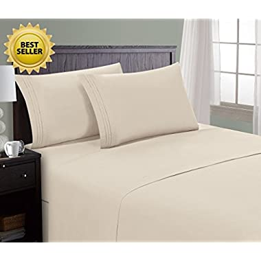 HC Collection Bed Sheet & Pillowcase Set HOTEL LUXURY 1800 Series Egyptian Quality Bedding Collection! Deep Pocket, Wrinkle & Fade Resistant,Luxurious,Comfortable,Extremely Durable(King, Cream)