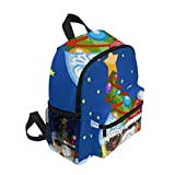 Pug Dogs Christmas Santa Claus Childrens double backpack cute animal cartoon backpack male baby girl