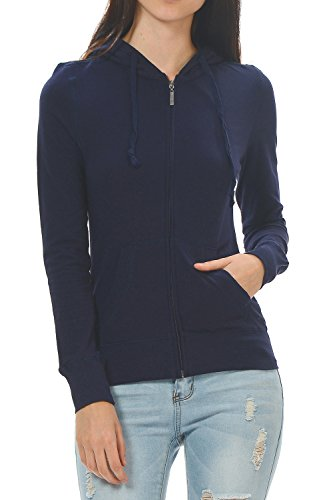 YourStyle Basic Solid Casual Light Weight Zip up Hoodie Jackets (Small, Navy)