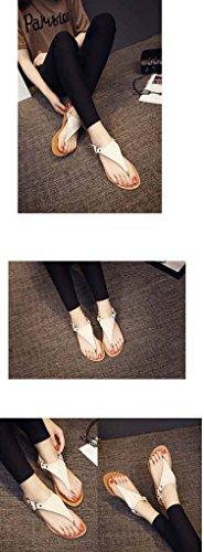 SHEO sandalias de tacón alto Señoras retro europeo y americano plana con las sandalias de marea toe Blanco
