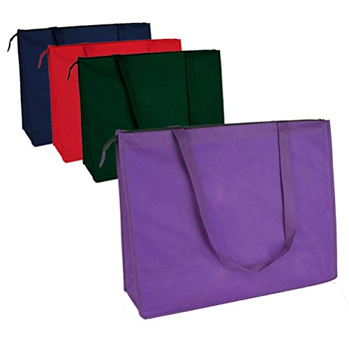 PACK OF 10 Large Non-Woven Reusable Grocery Tote Bag With Zi