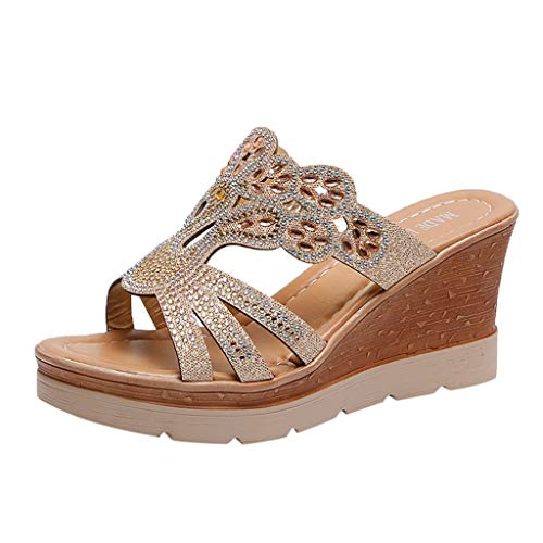 ALLYOUNG Women Wedges Shoes Ladies Bohemia Crystal Wedges Thick Peep Toe Sandals Slippers Shoes (Gold, 38) (Saddle Shoe Skate Covers)
