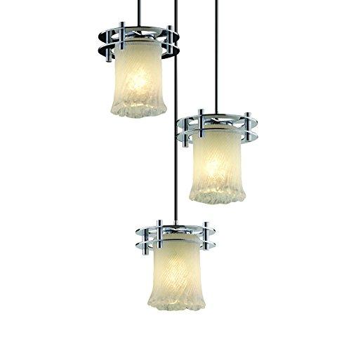 (Justice Design Group Veneto Luce 3-Light Pendant - Polished Chrome Finish with Whitewash Venetian Glass Shade )