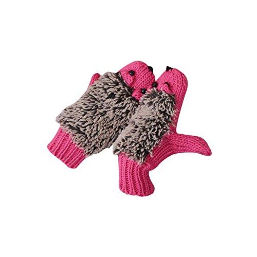 Women Hedgehog Mittens Girls Warm Winter Thick Kint Cartoon Gloves