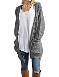 Women's Long Sleeve Casual Loose Fit Open Front Knit Cardigan Sweater Outerwear With Pockets