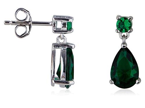 SilverLuxe Sterling Silver Emerald Glass Pear Shape Drop Earring ()