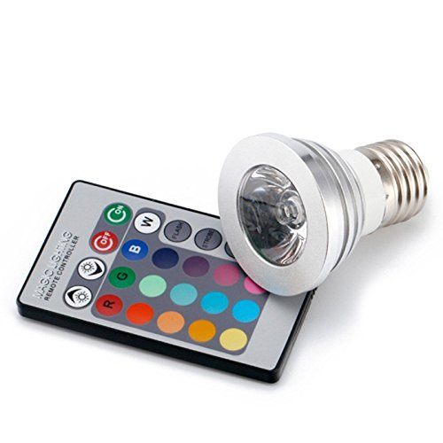Ali Huang(TM) 3w E27 RGB Color Changing Light Bulb with Remote- Pack of 5