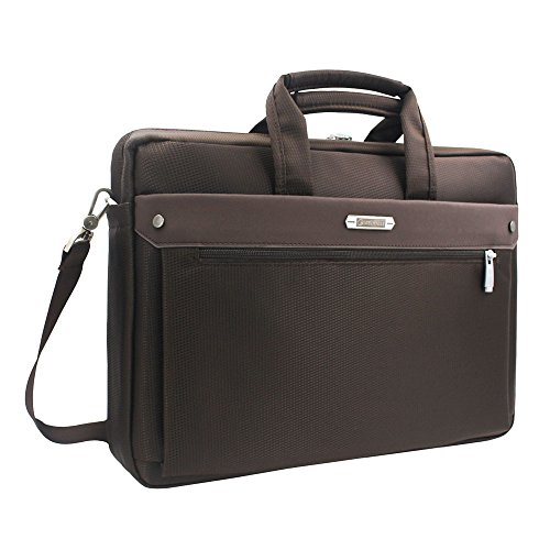 15.6 inch Laptop Shoulder Bag - Travel Computer Tablet Briefcase with Organizer, Expandable High Capacity, Waterproof Business Messenger Briefcases for Men and Women, Brown Brown Expandable Bag