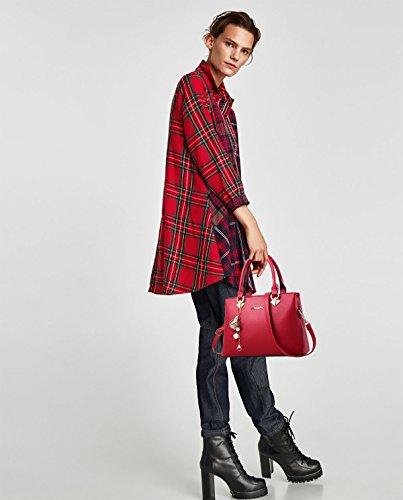 donna spalla a Sdinaz Tote moda Bag Borsa vino monocromatica a rosso tracolla 1Z0BT0Hn