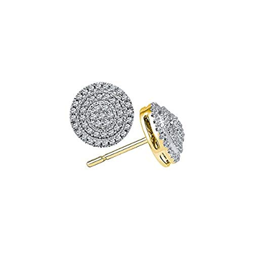 (Womens Round Diamond Concentric Circle Frame Cluster Earrings 1/2-Carat tw, in 10K Yellow Gold from Roy Rose Jewelry)