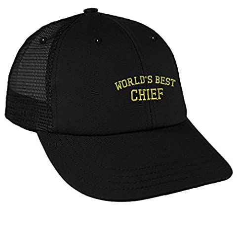Worlds Best Chief Embroidery Design Low Crown Mesh Golf Snapback Hat Black (Chief Head Snapback)
