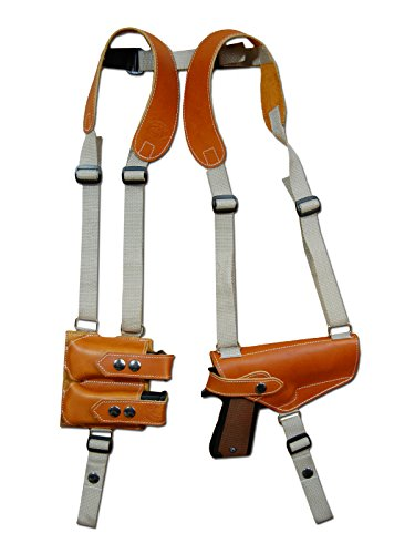 al Tan Leather Shoulder Holster w/Dbl Magazine Pouch for Taurus 24/7 9mm 40 45 left ()