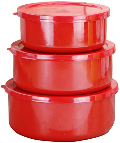 Calypso Basics by Reston Lloyd 6-Piece Enamel on Steel Bowl/Storage Set, Red (3 Piece Enamel)
