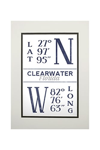 Clearwater  Florida   Latitude And Longitude  Blue   11X14 Double Matted Art Print  Wall Decor Ready To Frame