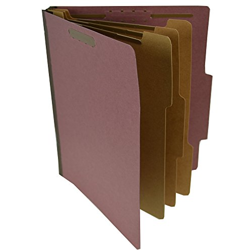 Star S60850 Pressboard Classification Partition Folder, 3 Dividers, 3-Inch Expansion, 2/5 Cut Tab, Brick Red, Letter Size, Box of 10