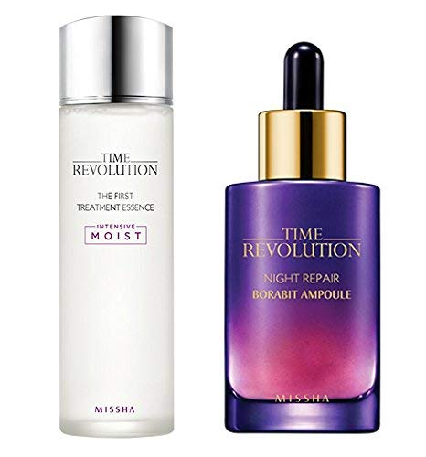 Missha Time Revolution The First Treatment Essence Intensive Moist and Time Revolution Night Repair Science Activator Ampoule Gold Bundle