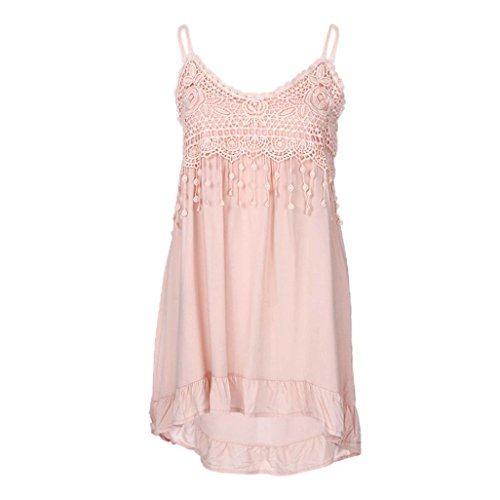 Price comparison product image Women Tank Tops,  vermers Summer Fashion Sleeveless Tassels Cotton Camisole Shirt Blouse(Pink,  2XL)