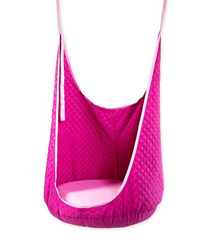 HearthSong® Cozy HugglePod Hanging Hammock Lounge Chair for Indoor or Outdoor Use - Quilted Fabric and Inflatable Interior Cushion - 5-FT H x 36'' Diam - Fuchsia (Large Hammock Fabric Quilted)