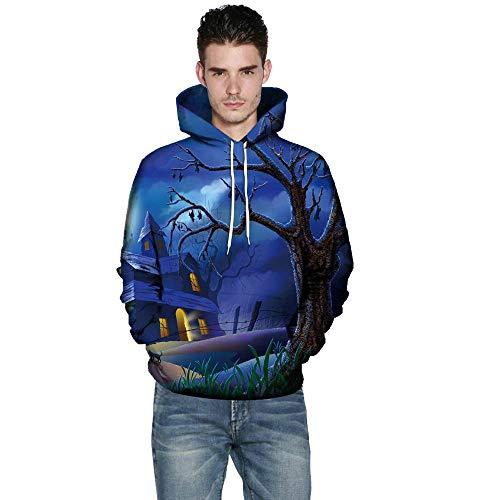 kaifongfu Halloween Hoodies Top,Long Sleeve Couples 3D Print Blouse Shirts(Blue,M) for $<!--$16.02-->