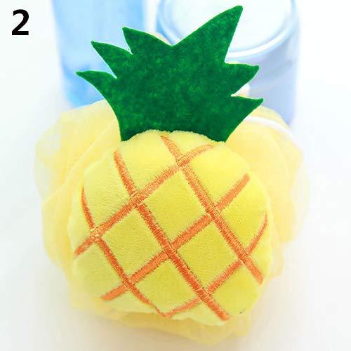 qsbai Soft Fruit Shape Bath Puff Shower Sponge Body Foam Bubble Net Ball Body Scrub - Pineapple
