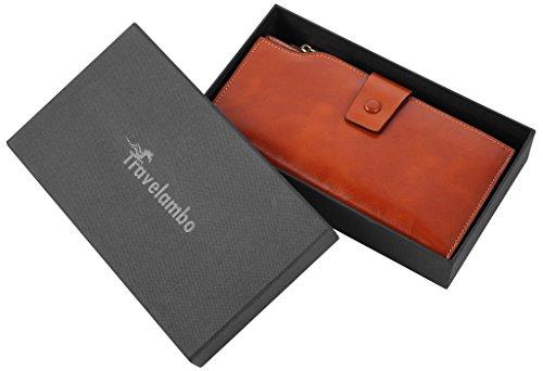 Travelambo Womens RFID Blocking Large Capacity Luxury Waxed Genuine Leather Clutch Wallet Multi Card Organizer (tan) by Travelambo (Image #6)