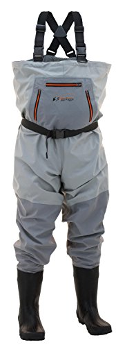 Frogg Toggs Hellbender Breathable Bootfoot Chest Wader, Cleated Outsole, Slate Gray, Size 10