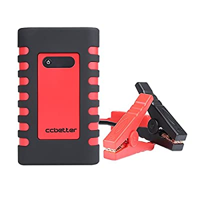 CCbetter 400A Peak Portable Car Jump Starter 10000mAh Mobile Power Bank Battery Charger with SOS LED Torch Flashlight, Car Charger and Inflatable Nozzles Auto Booster (Red & Black)