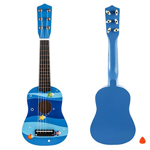 RuiyiF Kids Guitar for Girls Boys Beginners, Toy Acoustic Guitar for Toddlers 6 Steel String with Pick 21 Inch-Blue