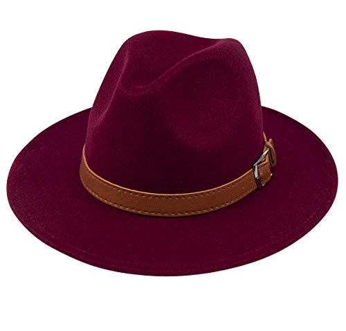 Lanzom Womens Classic Wide Brim Floppy Panama Hat Belt Buckle Wool Fedora Hat (One Size, Z Belt-Wine - Classic Hat Red Wool
